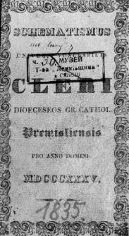 Schematismus Universi Venerabilis Cleri Dioeceseos Gr. Cathol. Premisliensis 1835