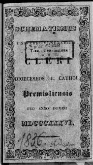 Schematismus Universi Venerabilis Cleri Dioeceseos Gr. Cathol. Premisliensis 1836