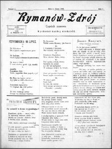 Rymanów Zdrój : tygodnik sezonowy, 1899, nr 4