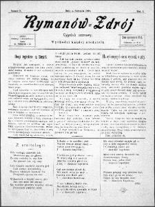 Rymanów Zdrój : tygodnik sezonowy, 1899, nr 9