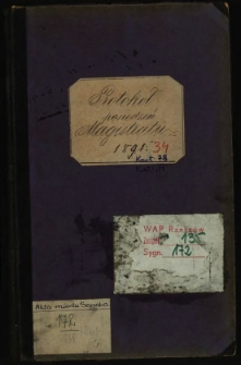 Protokoł posiedzeń Magistratu 1891