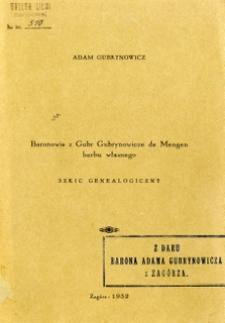Baronowie z Gubr Gubrynowicze de Mengen herbu własnego : szkic genealogiczny