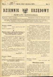 Dziennik Urzędowy Powiatu Sanockiego, 1927, nr 1