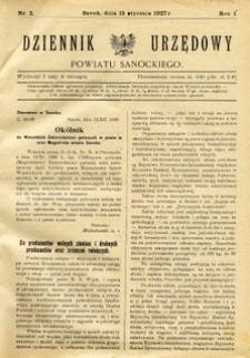 Dziennik Urzędowy Powiatu Sanockiego, 1927, nr 2