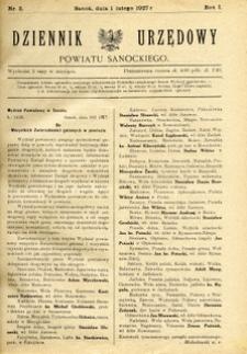Dziennik Urzędowy Powiatu Sanockiego, 1927, nr 3