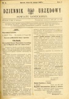 Dziennik Urzędowy Powiatu Sanockiego, 1927, nr 4