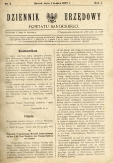 Dziennik Urzędowy Powiatu Sanockiego, 1927, nr 5