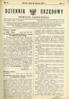 Dziennik Urzędowy Powiatu Sanockiego, 1927, nr 6