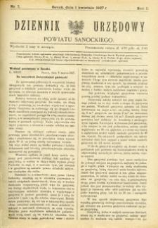 Dziennik Urzędowy Powiatu Sanockiego, 1927, nr 7