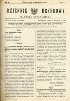 Dziennik Urzędowy Powiatu Sanockiego, 1927, nr 8