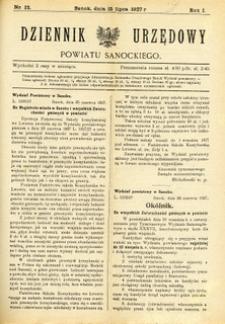 Dziennik Urzędowy Powiatu Sanockiego, 1927, nr 12