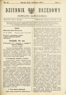 Dziennik Urzędowy Powiatu Sanockiego, 1927, nr 13