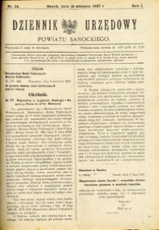 Dziennik Urzędowy Powiatu Sanockiego, 1927, nr 14