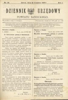 Dziennik Urzędowy Powiatu Sanockiego, 1927, nr 16