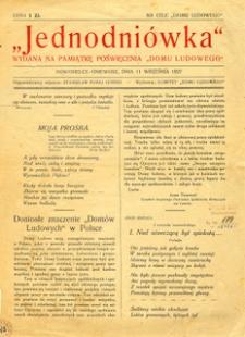 """Jednodniówka wydana na pamiątkę poświęcenia """"Domu Ludowego"""" : Nowosielce-Gniewosz, dnia 11 września 1927"""