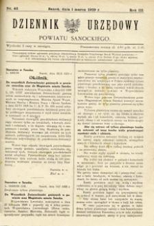 Dziennik Urzędowy Powiatu Sanockiego, 1929, nr 42