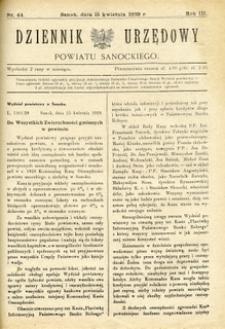 Dziennik Urzędowy Powiatu Sanockiego, 1929, nr 44