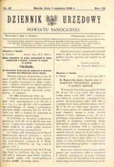 Dziennik Urzędowy Powiatu Sanockiego, 1929, nr 47
