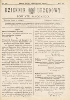 Dziennik Urzędowy Powiatu Sanockiego, 1929, nr 54