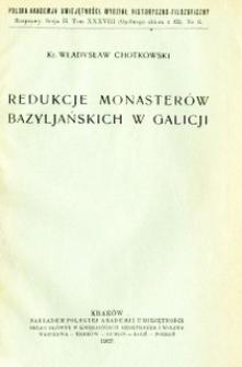 Redukcje monasterów bazyljańskich w Galicji