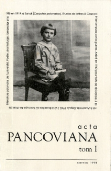 Acta Pancoviana, 1998, t. 1