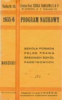 Program naukowy 1935/6 : Średnia Koed. Szkoła Handlowa Z.N.P. w Sanoku