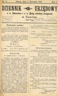 Dziennik Urzędowy c.k. Starostwa i c.k. Rady szkolnej okręgowej w Sanoku, 1911, nr 3