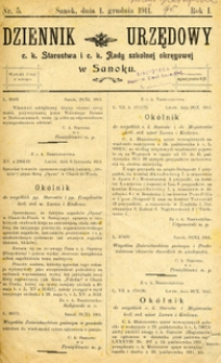 Dziennik Urzędowy c.k. Starostwa i c.k. Rady szkolnej okręgowej w Sanoku, 1911, nr 5