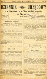 Dziennik Urzędowy c.k. Starostwa i c.k. Rady szkolnej okręgowej w Sanoku, 1911, nr 1