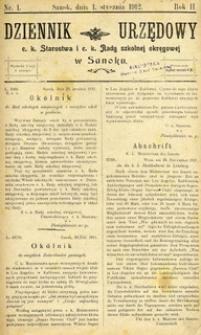 Dziennik Urzędowy c.k. Starostwa i c.k. Rady szkolnej okręgowej w Sanoku, 1912, nr 1
