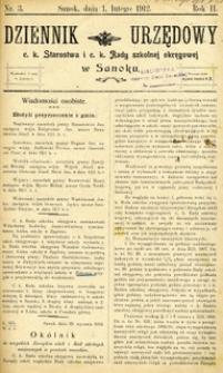 Dziennik Urzędowy c.k. Starostwa i c.k. Rady szkolnej okręgowej w Sanoku, 1912, nr 3