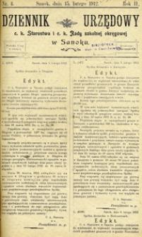 Dziennik Urzędowy c.k. Starostwa i c.k. Rady szkolnej okręgowej w Sanoku, 1912, nr 4