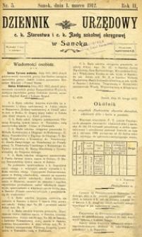 Dziennik Urzędowy c.k. Starostwa i c.k. Rady szkolnej okręgowej w Sanoku, 1912, nr 5