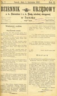 Dziennik Urzędowy c.k. Starostwa i c.k. Rady szkolnej okręgowej w Sanoku, 1912, nr 7