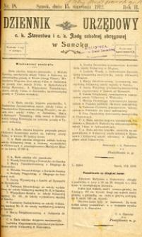 Dziennik Urzędowy c.k. Starostwa i c.k. Rady szkolnej okręgowej w Sanoku, 1912, nr 18