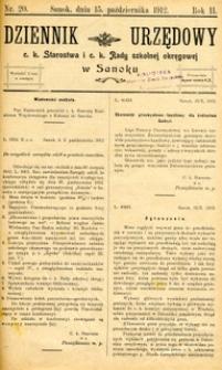 Dziennik Urzędowy c.k. Starostwa i c.k. Rady szkolnej okręgowej w Sanoku, 1912, nr 20