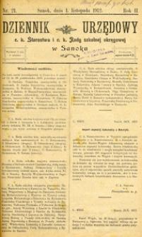 Dziennik Urzędowy c.k. Starostwa i c.k. Rady szkolnej okręgowej w Sanoku, 1912, nr 21