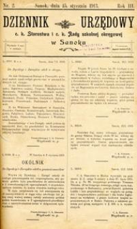 Dziennik Urzędowy c.k. Starostwa i c.k. Rady szkolnej okręgowej w Sanoku, 1913, nr 2