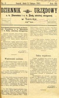 Dziennik Urzędowy c.k. Starostwa i c.k. Rady szkolnej okręgowej w Sanoku, 1913, nr 3