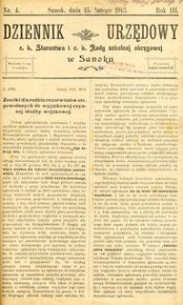 Dziennik Urzędowy c.k. Starostwa i c.k. Rady szkolnej okręgowej w Sanoku, 1913, nr 4