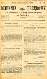 Dziennik Urzędowy c.k. Starostwa i c.k. Rady szkolnej okręgowej w Sanoku, 1914, nr 1