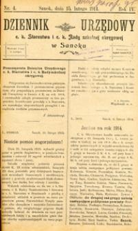 Dziennik Urzędowy c.k. Starostwa i c.k. Rady szkolnej okręgowej w Sanoku, 1914, nr 4
