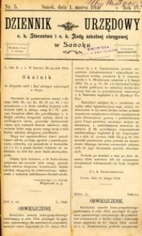 Dziennik Urzędowy c.k. Starostwa i c.k. Rady szkolnej okręgowej w Sanoku, 1914, nr 5