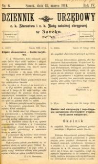 Dziennik Urzędowy c.k. Starostwa i c.k. Rady szkolnej okręgowej w Sanoku, 1914, nr 6