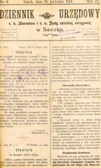 Dziennik Urzędowy c.k. Starostwa i c.k. Rady szkolnej okręgowej w Sanoku, 1914, nr 8