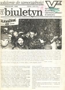 Biuletyn Informacyjny Komitetu Obywatelskiego w Sanoku, 1989, nr 1