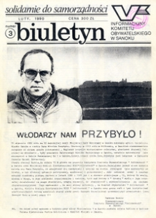 Biuletyn Informacyjny Komitetu Obywatelskiego w Sanoku, 1990, nr 3