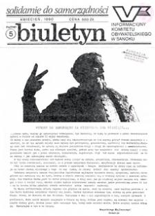 Biuletyn Informacyjny Komitetu Obywatelskiego w Sanoku, 1990, nr 5