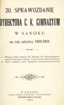 20. Sprawozdanie Dyrektora C.K. Gimnazyum w Sanoku za rok szkolny 1900/1901