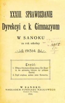 XXXIII. Sprawozdanie Dyrekcyi c.k. Gimnazyum w Sanoku za rok szkolny 1913/14